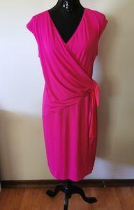 Linea Pink & Orange Stretchy Dress Size 14